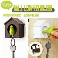 320pcs/lot wholesales Likable Bird Nest Sparrow House Key Chain Ring Chain Wall Hook Holders Whistle
