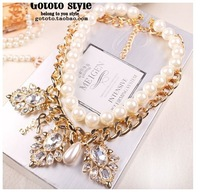 2014 Free Shipping Fashion Chunky Choker short Necklaces & Pendants Vintage Pearl Necklace Statement Jewelry For Women