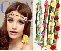 100pcs Wholesale  boho headband flower crown headband  5 flowers Braided  Wedding Garland  hair accessories for women