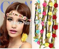 100pcs Wholesale  boho headband flower crown headband  5 flowers Braided  Wedding Garland  hair accessories for women