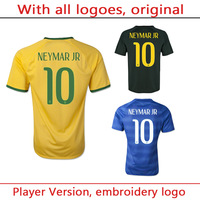 Player Version Top A+++ 2014 World Cup Brazil NEYMAR soccer jersey Grade Original thai quality football jersey soccer shirt