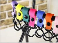 100pcs/lot wholesale Plastic Baby Stroller Pram Pushchair Hanger Hanging 2 Hooks Nylon Velcro multicolor [direct selling]