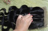 Silk Base Closure Brazilian Hair Body Wave 100% Human Hair 3 part silk base closure free shipping