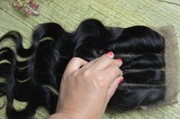 Silk Base Closure Brazilian Hair Body Wave 100% Human Hair 3 part silk base closure free shipping