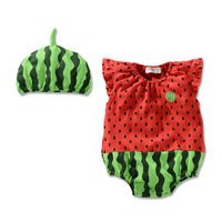 Brand watermelon baby romper short sleeve 100% cotton watermelon infants bodysuits wear jumpsuits for free shipping
