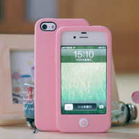 Free Shipping Silicone Soft jelly bean cover case for iPhone 5 5s with home button with retailer polybag