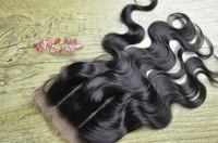 "Peruvian 3 part silk base closure,hidden knots silk closure,6a body wave Peruvian lace clsoure,4""x 4"" 3 way part lace closure"