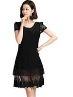 Free Shipping 2015 Women Dresses, Summer  Plus Size Women Korean Thin Slim Short Sleeve Lace Dress MY867 XL-XXL- XXXL- XXXXL