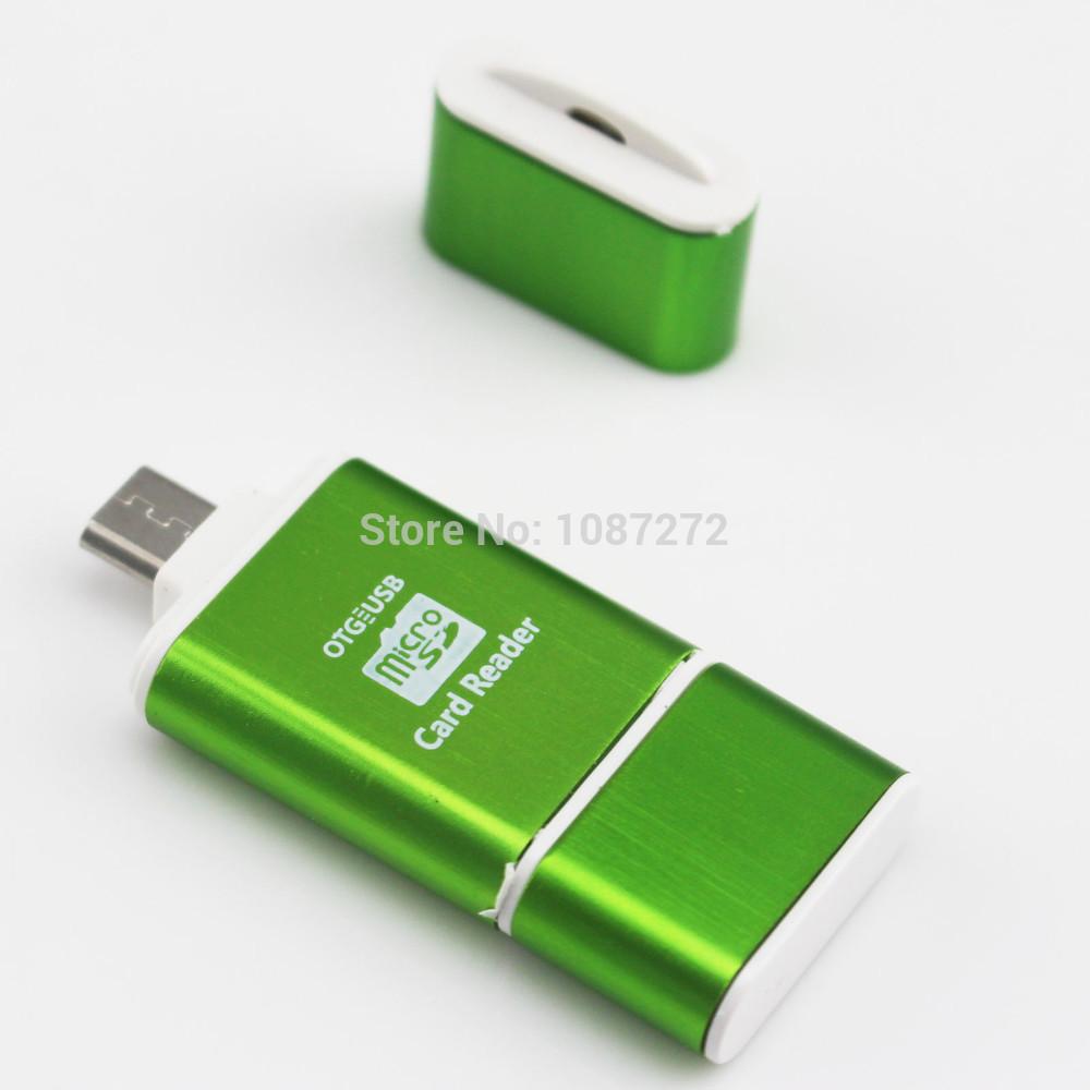Free Shipping 1pcs/Lot 2014 New Card reader Dual Using USB/Micro USB OTG Smart Card Reader for Samsung HTC and computer-Green(China (Mainland))
