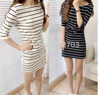 New Style Vogue lady dresses  2014 summer casual stripe color block half sleeve slim hip slim basic one-piece dress