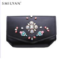 Smilyan elegant gem PU leather women clutch bags designer clutch famous brand women clutch irregular rhinestone evening bags