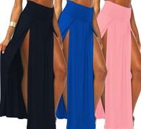 2014 Popular High Waisted Open fork skirt Sexy Women Maxi Long Skirts Black White Pink Blue Hollow front opening Skirt