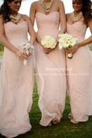 2014 hot selling Cheap blush pink bridesmaid dresses long chiffon maid of honor dress wedding party dress Free shipping