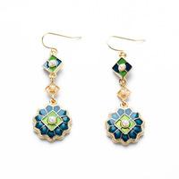 NEW ARRIVAL 2014 women dangle earrings boutique pearl blue green enamel hollow 494