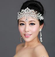 Bridal Crystal Tiara Earrings Wedding Jewelry Sets Rhinestone Bride Crown Headwear Headpiece Wedding Accessories Set WIGO0112