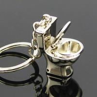 Free shipping Fashion tastes delicate small toilet key chain ring Christmas