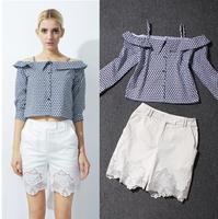 2014 Summer Korean Novelty Print Plaid Off The Shoulder Plaid Top & Slim White/Yellow/Orange Lace Patchwork Short Pants