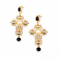 NEW ARRIVAL 2014 women Stud earrings statement cross vintage rococo pearl boutique earring 457