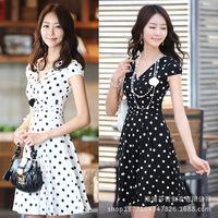 Korea Women's Dot dress High Waist Slim Short Sleeve V Neck Polka Dot Chiffon Dress Free shipping 9580