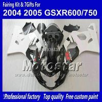 Wholesale - 7 gifts bodywork fairings for SUZUKI GSXR 600 750 K4 2004 2005 GSXR600 GSXR750 04 05 R600 R750 gossy white black ABS