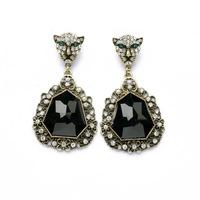 NEW ARRIVAL 2014 women Stud earrings leopard head hollow vintage big rhinestone boutique earring 541