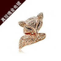 Hot sales style wholesale Charm fox shape ring  true Rose gold ring   Pretty Woman Crystal Ring lord of the ring