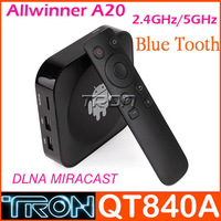 QT840A TV BOX Allwinner A20 TV Android BOX Mini PC 512MB RAM 4GB ROM Bluetooth 2.4G/5G DualBand WIFI AirPlay Miracast