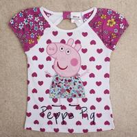 children peppa pig t shirts 2014 fashion sweet heart girls cotton t shirts baby & kids girls embroidery casual t shirts K4673