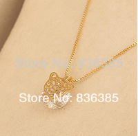 New Arrival 2014 lucky charm real gold necklace 18K gold-plated inlaid zircon hollow leopard head necklace women necklace Gn19