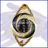 2014 New Fashion Women Rhinestone Round Crystal Decorated Bangle Cuff Analog Quartz Bracelet Dress Watch 10pcs