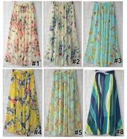 Women Chiffon Floral Print Pleated Retro Maxi Long Skirt Elastic WaistBand