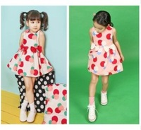 New 2014 children clothing 100% cotton girl party dress summer dress for kids girls free shipping