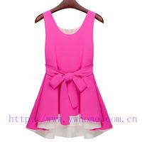 The new spring and summer 2014 Chiffon Dress irregular hem hit color miniskirt