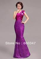2014 New Lady Women Purple Satin Slim-Line One Shoulder Floor Length Mermaid Zipper Party  Formal Cocktail Dress,Gown Dress