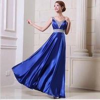Elegant and sweat crystal shinning evening dress long design slim formal stage clothes free shipment