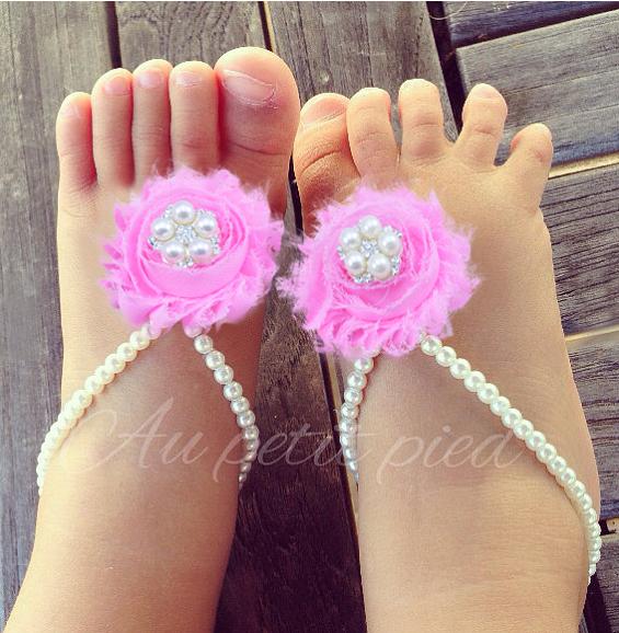 9 kleuren parel en shabby bloemen op blote voeten sandalen pasgeboren baby meisje schoenen bloem - Baby voet verkoop ...