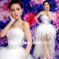 New 2014 Lady White Organza Feather Sexy Rhinestone Strapless Hi-Lo Train Formal Evening Dress   5829,Prom Mini Party  Dress