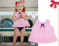new arrival pink cotton top with purple bloomer swing top set for kids