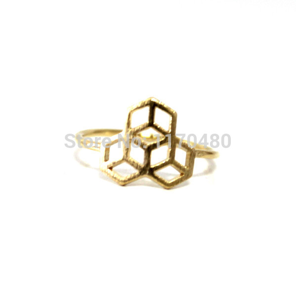 2014 new fashion 3 Honeycomb sign Ring Honey Bee House symbol Ring