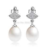 GNE0930 New 2014 Promotion Freahwater Pearl Earrings 24*8.8mm for Women Free shipping 925 Sterling silver Dangle Earrings