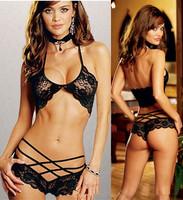 Sexy Woman Lace Sleepwear Halter Underwear Lingerie G-string W1454