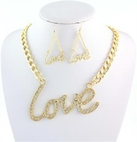 2014 Free Shipping New Lovely Gift Necklace earring Gold Plated Rhinestone Love Crystal Jewelry Set,For Women
