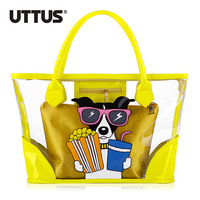 Fashion Summer Soft PVC Transparent Candy Color Cartoon Dog Design Two Layers Bag with Inner Tank