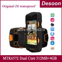 "Newest 2014 Original Z6 Waterproof 4.0""IP68 Screen Cellphone 3G GPS MTK6572 Dual Core 1.2GHZ 512MB 4GB 5MP Dustproof Shockproof"