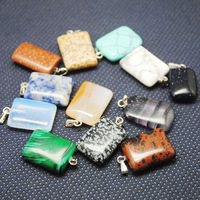 Box Stone Sets,12 Pieces /Lot,Nature Stone Pendant,Gem Stone Pendant Rectangle Shape,For Necklace Making,Size:15x20mm