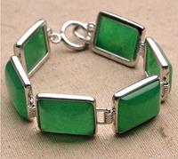 Designer Jewelry Green Agate Wristband Square Bracelet Natural Stone Jewelry