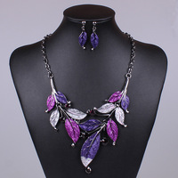 2014 Fashion Brand Jewelry Sets Gunmetal Plated Elegant Leaf Design 4Colors High Quality Party Gifts New Free Shipping