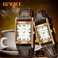 Brand EKYI Casual Roman Numbers Leather Strap Quartz Stainless steel clasp  Couple  Watches Fashion Wristwatch WE9907