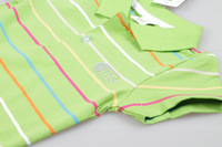 New arrival summer baby girls/boys green color stripes   T-shirt  #9304