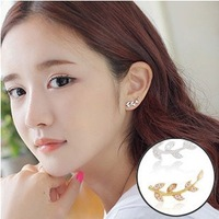 Women 2014 Rhinestone Leaf Stud Earring Sweet Lovely Fashion Korean Jewelry Gift New Arrival gold or silver